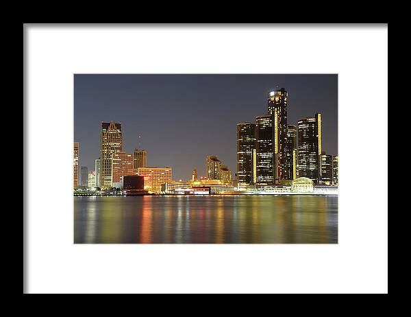 Downtown District Framed Print featuring the photograph Detroit Skyline At Night by Rivernorthphotography