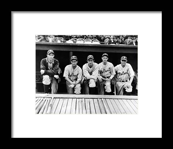 People Framed Print featuring the photograph Detroit Tigers 1935 Pitching Staff And by Fpg