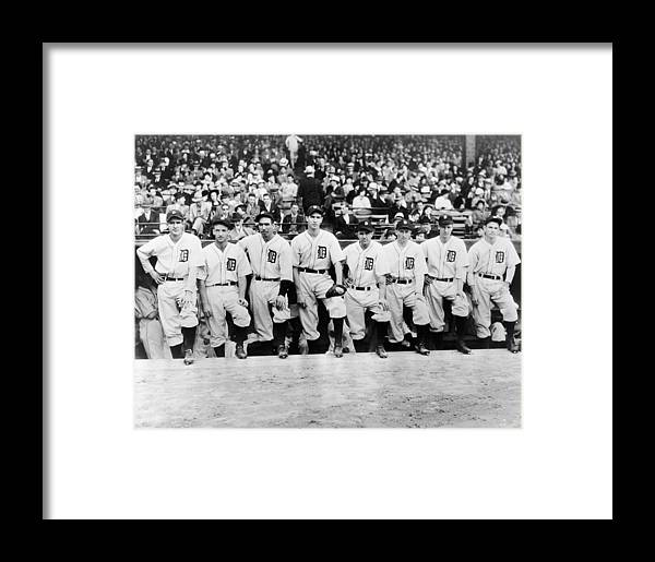 People Framed Print featuring the photograph Detroit Tigers 1935 Pitching Staff At by Fpg