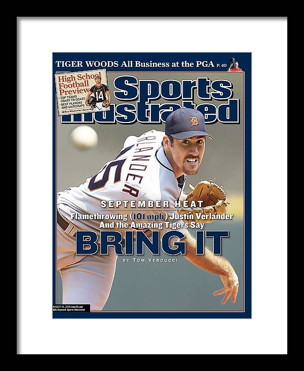 Magazine Cover Framed Print featuring the photograph Detroit Tigers Justin Verlander... Sports Illustrated Cover by Sports Illustrated