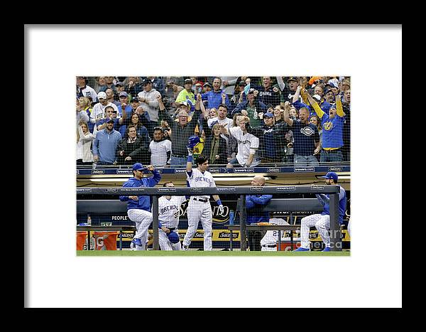People Framed Print featuring the photograph Detroit Tigers V Milwaukee Brewers by Dylan Buell