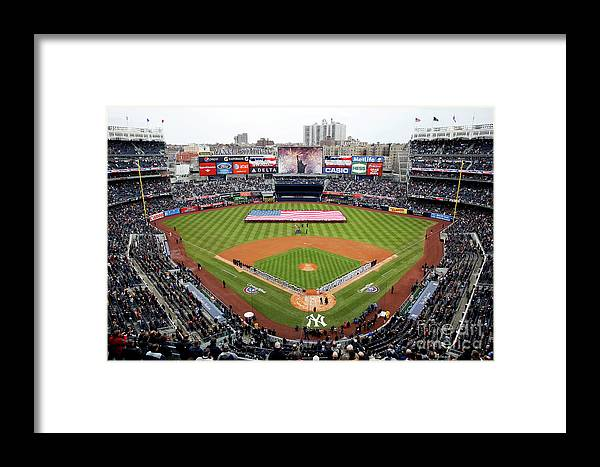Topics Framed Print featuring the photograph Detroit Tigers V New York Yankees by Jeff Zelevansky