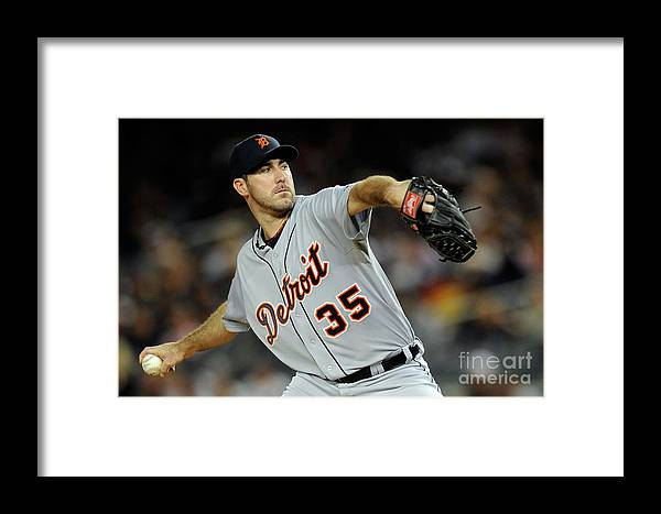 American League Baseball Framed Print featuring the photograph Detroit Tigers V New York Yankees - by Patrick Mcdermott