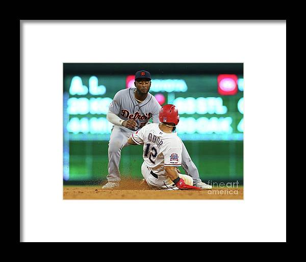 People Framed Print featuring the photograph Detroit Tigers V Texas Rangers by Rick Yeatts