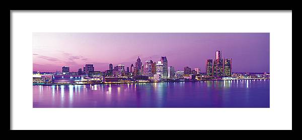 Dawn Framed Print featuring the photograph Detroit Under Purple Sky by Jeremy Woodhouse
