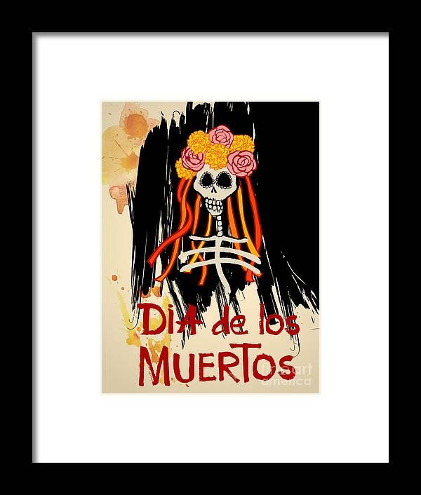 Symbol Framed Print featuring the digital art Dia De Los Muertos Day Of The Dead by Ajgul