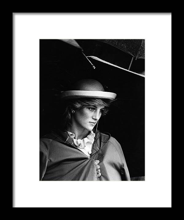1980-1989 Framed Print featuring the photograph Diana In Rain by Hulton Archive