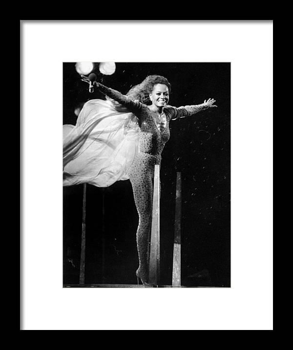 1980-1989 Framed Print featuring the photograph Diana Ross Seems Ready To Take Off At by New York Daily News Archive