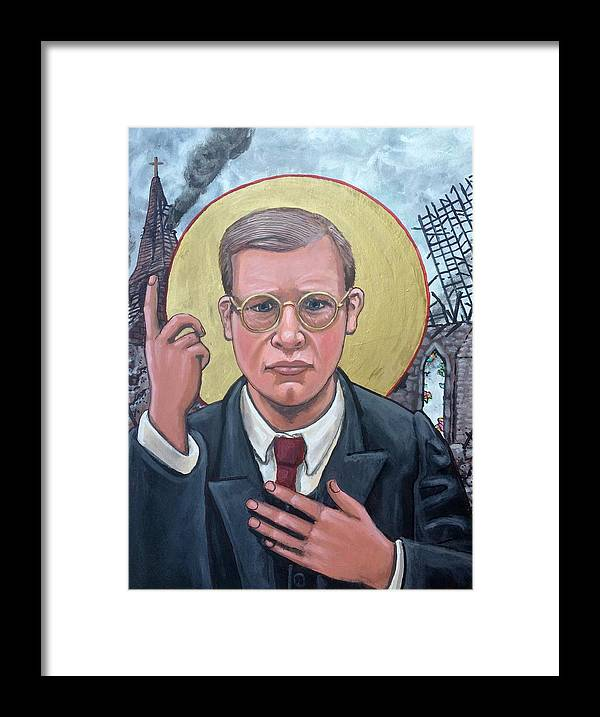 Iconography Dietrich Bonhoeffer Christian Theologian Framed Print featuring the painting Dietrich Bonhoeffer by Kelly Latimore