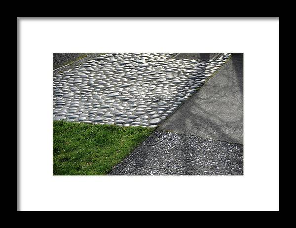 Grass Framed Print featuring the photograph Different Textures Of Sidewalk, And by Aaron Mccoy