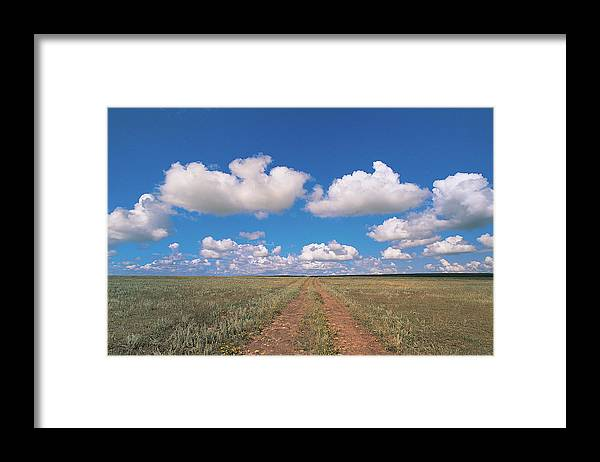 Grainy Framed Print featuring the photograph Dirt Road On Prairie With Cumulus Sky by Mimotito