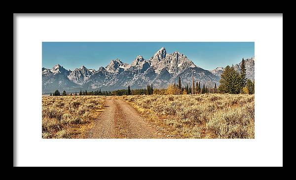 Tranquility Framed Print featuring the photograph Dirt Road To Tetons by Jeff R Clow