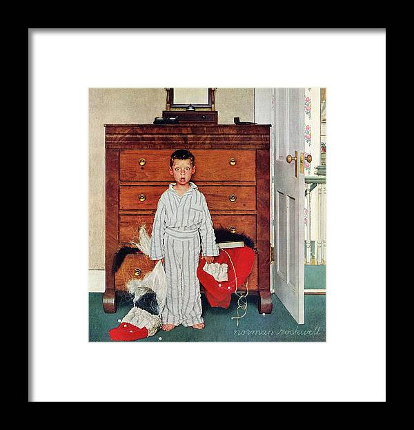 Bedrooms Framed Print featuring the drawing Discovery by Norman Rockwell