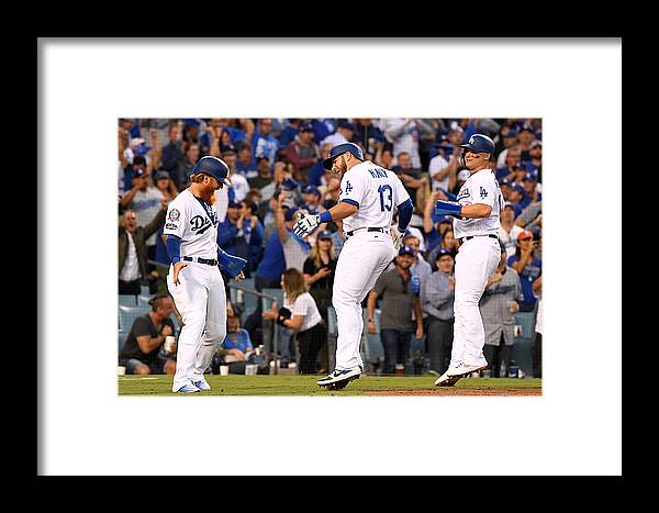 People Framed Print featuring the photograph Divisional Round - Atlanta Braves V Los by Harry How
