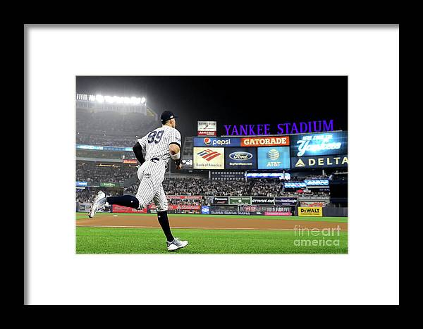 People Framed Print featuring the photograph Divisional Round - Boston Red Sox V New by Elsa