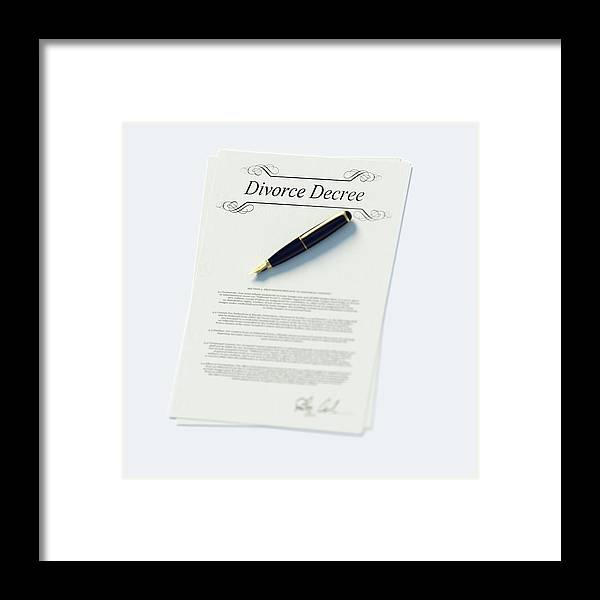 White Background Framed Print featuring the photograph Divorce Papers In English And Pen by Doug Armand