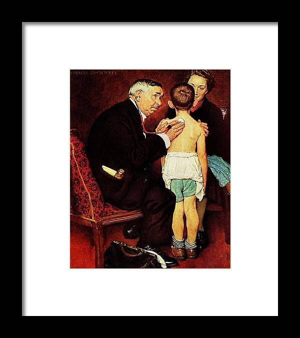 Doctor Framed Print featuring the drawing Doc Melhorn And The Pearly Gates by Norman Rockwell