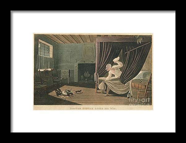 Etching Framed Print featuring the drawing Doctor Syntax Loses His Wig, 1820 by Print Collector