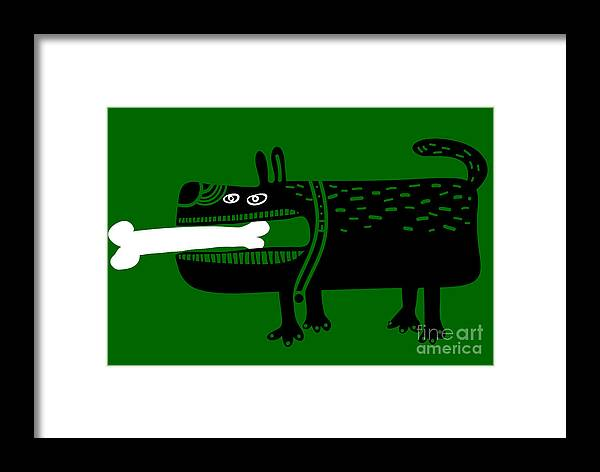 Entertainment Framed Print featuring the digital art Dog With A Big Bone In His Mouth by Complot