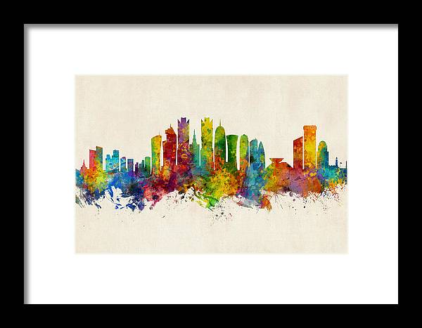 Watercolor Art Print Of The Skyline Of Doha Framed Print featuring the digital art Doha Qatar Skyline by Michael Tompsett