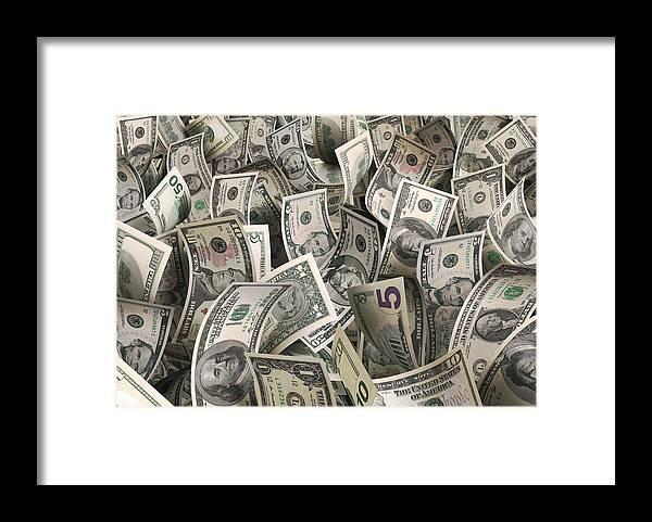 Five Dollar Bill Framed Print featuring the photograph Dollars by Ktsfotos