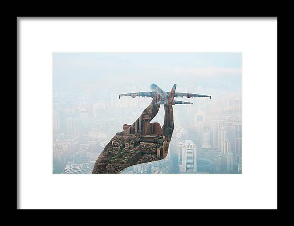 People Framed Print featuring the photograph Double Exposure Of Hand Holding Model by Jasper James