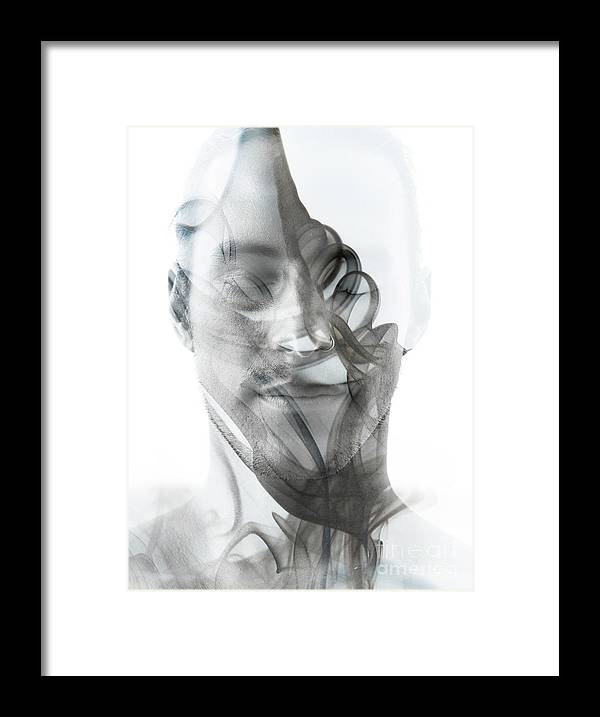 Spa Framed Print featuring the photograph Double Exposure Portrait Of A Sexy Man by Victor tongdee