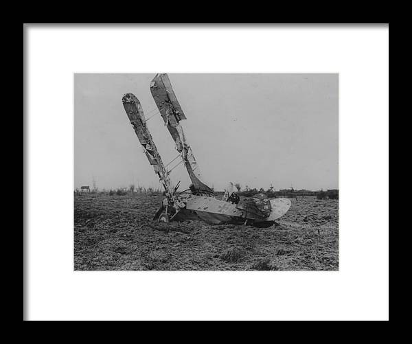 Military Airplane Framed Print featuring the photograph Downed Fokker by Hulton Archive