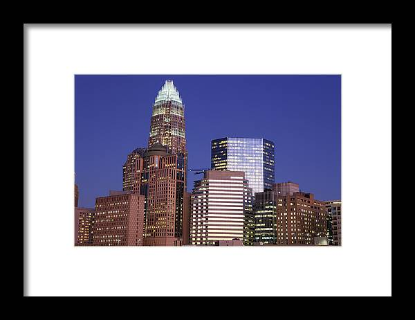 North Carolina Framed Print featuring the photograph Downtown Charlotte, Nc At Night by Jumper