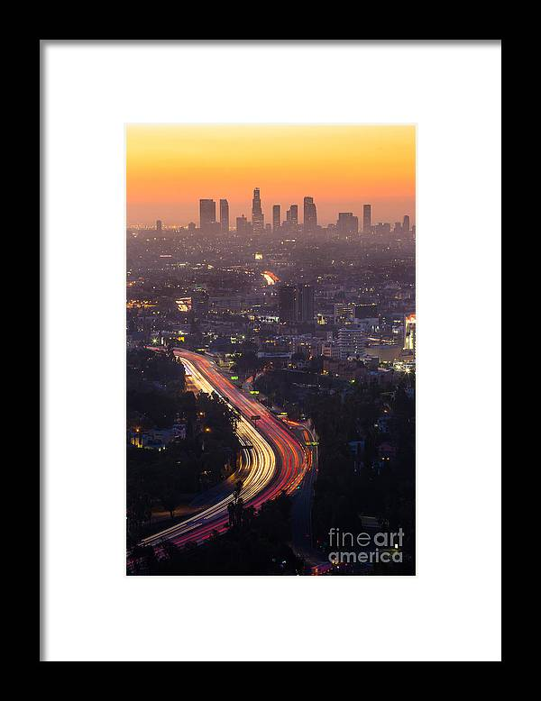 Freeway Framed Print featuring the photograph Downtown Los Angeles Skyline by F11photo
