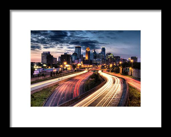 Downtown District Framed Print featuring the photograph Downtown Minneapolis Skyscrapers by Greg Benz
