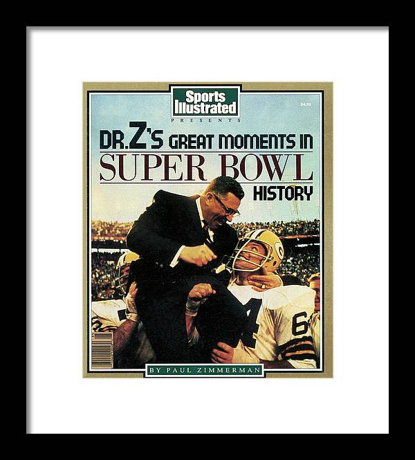 1980-1989 Framed Print featuring the photograph Dr. Zs Great Moments In Super Bowl History By Paul Zimmerman Sports Illustrated Cover by Sports Illustrated