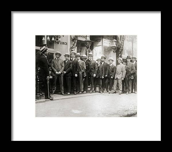 People Framed Print featuring the photograph Draft Registration On Lower East Side by Bettmann