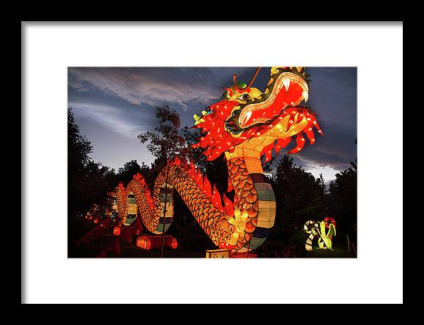 Dragon Framed Print featuring the photograph Dragon Lights by Fred DeSousa