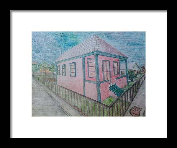 Drawing By Andrew Johnson Framed Print featuring the drawing Dream Cottage by Andrew Johnson