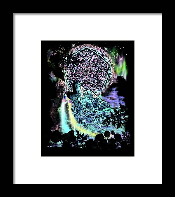 Dreamcatcher Wolf Framed Print featuring the painting Dreamcatcher Wolf by Stephanie Analah