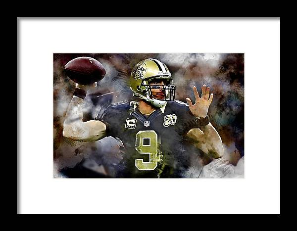 Drew Brees Framed Print featuring the mixed media Drew Brees by Marvin Blaine