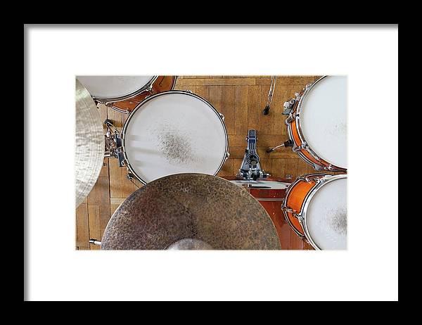 Berlin Framed Print featuring the photograph Drum Kit Arrangement by Halfdark