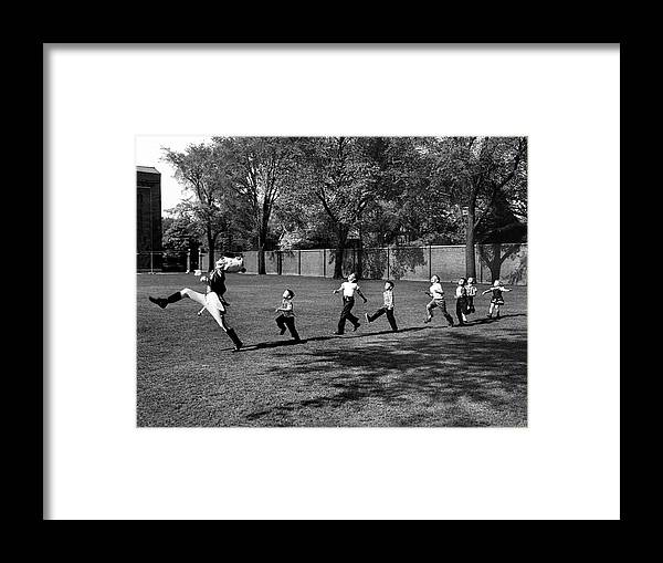 Marching Framed Print featuring the photograph Drum Major Practice by Alfred Eisenstaedt