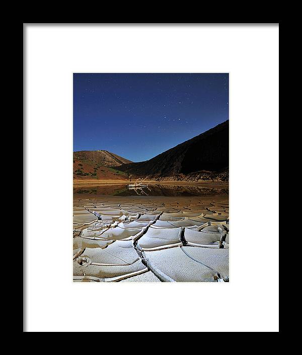 Tranquility Framed Print featuring the photograph Dry Landscape With Stars And Mountains by Davidexuvia