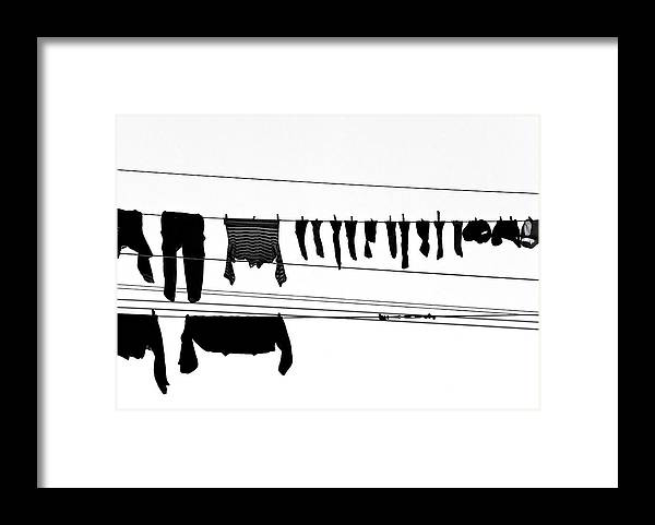 Hanging Framed Print featuring the photograph Drying Laundry On Two Clothesline by Massimo Strazzeri Photography