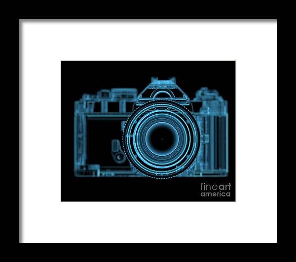 Eyesight Framed Print featuring the digital art Dslr Slr Camera 3d Xray Blue Transparent by X-ray Pictures