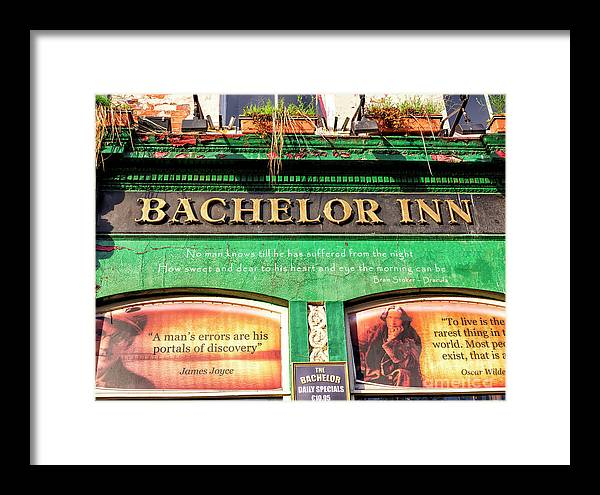 Poets Corner Framed Print featuring the photograph Dublin Bachelor Inn Wisdom by John Rizzuto