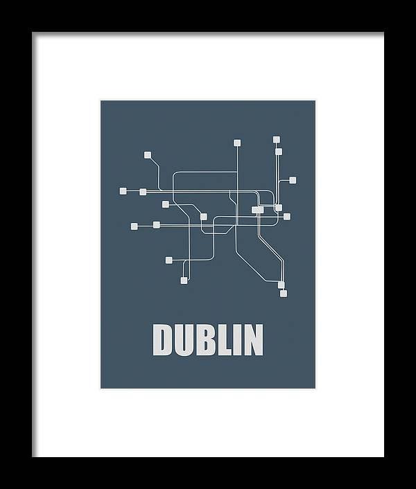 Dublin Framed Print featuring the digital art Dublin Subway Map by Naxart Studio
