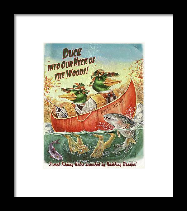 Duck Canoe Framed Print featuring the painting Duck Canoe by James Mazzotta