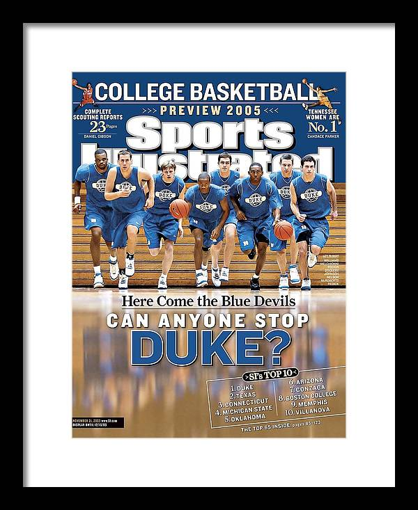 North Carolina Framed Print featuring the photograph Duke University Basketball Team Sports Illustrated Cover by Sports Illustrated