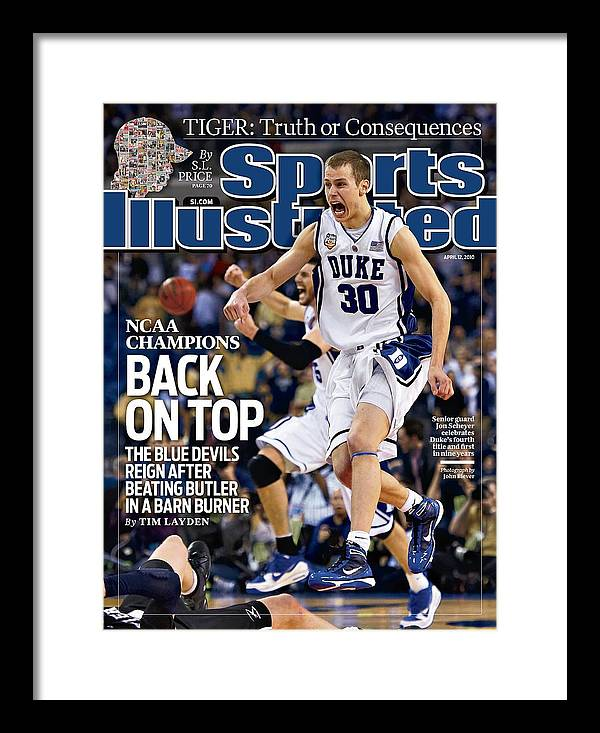 Magazine Cover Framed Print featuring the photograph Duke University Jon Scheyer, 2010 Ncaa National Championship Sports Illustrated Cover by Sports Illustrated