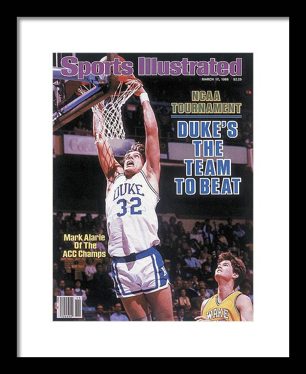 1980-1989 Framed Print featuring the photograph Duke University Mark Alarie, 1986 Acc Tournament Sports Illustrated Cover by Sports Illustrated