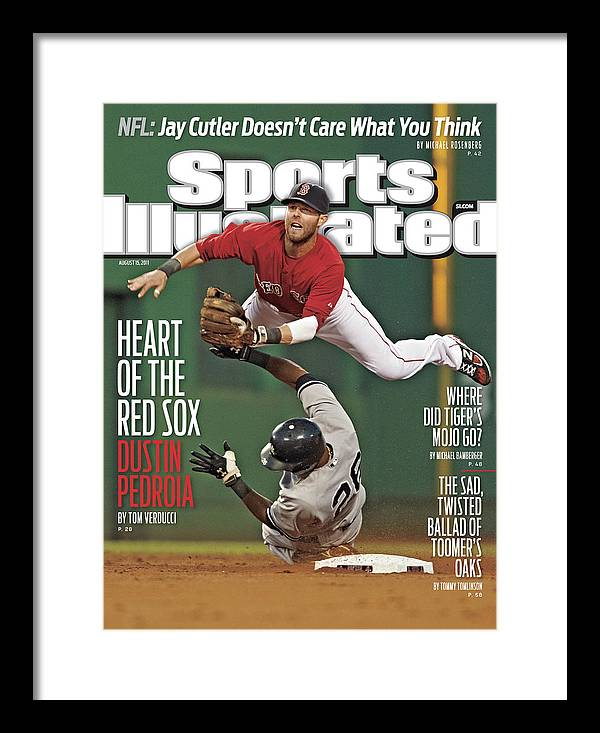 Magazine Cover Framed Print featuring the photograph Dustin Pedroia Heart Of The Red Sox Sports Illustrated Cover by Sports Illustrated
