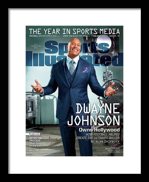 Magazine Cover Framed Print featuring the photograph Dwayne Johnson Owns Hollywood And The Year In Sports Media Sports Illustrated Cover by Sports Illustrated